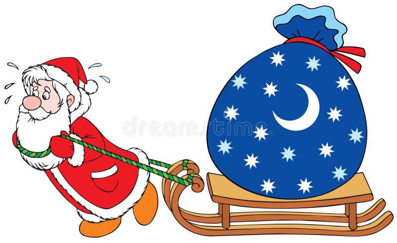Weihnachtsmann mit Geschenken stock abbildung