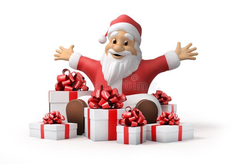 Weihnachtsmann mit Geschenken lizenzfreie abbildung