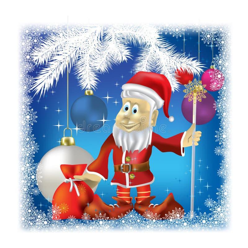 Weihnachtsmann mit Geschenken auf Blau stock abbildung