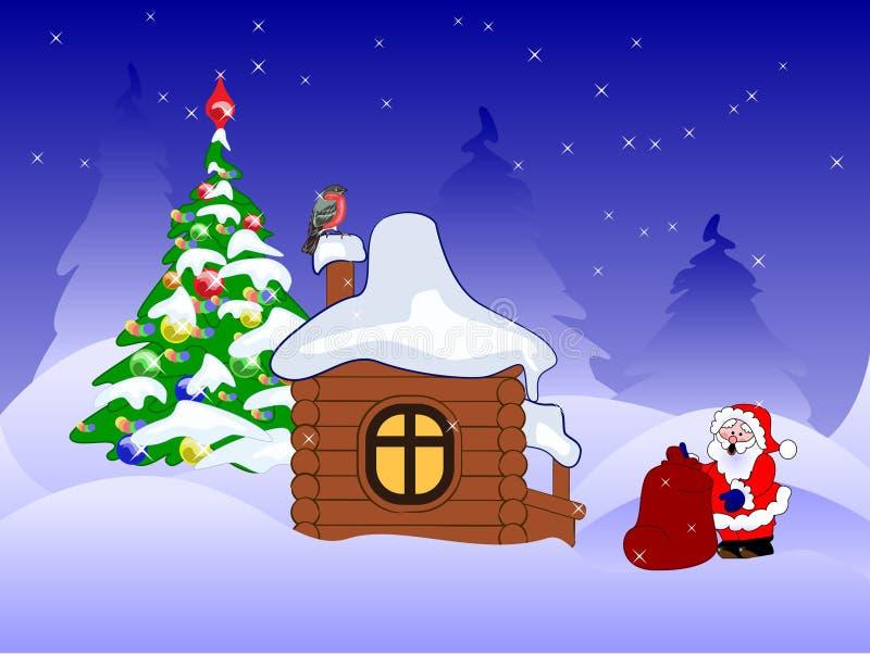 Weihnachtsmann mit Geschenken nahe hölzernem Haus lizenzfreie abbildung