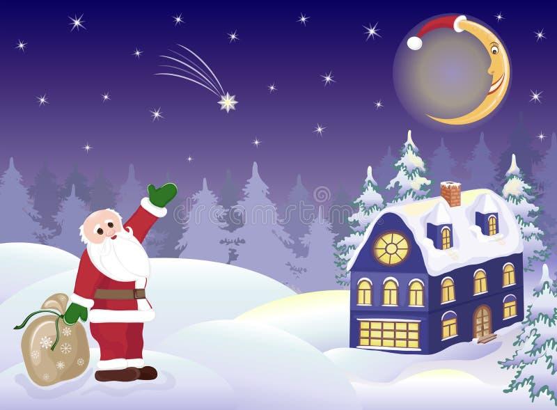 Weihnachtsmann mit Geschenken und Mond vektor abbildung