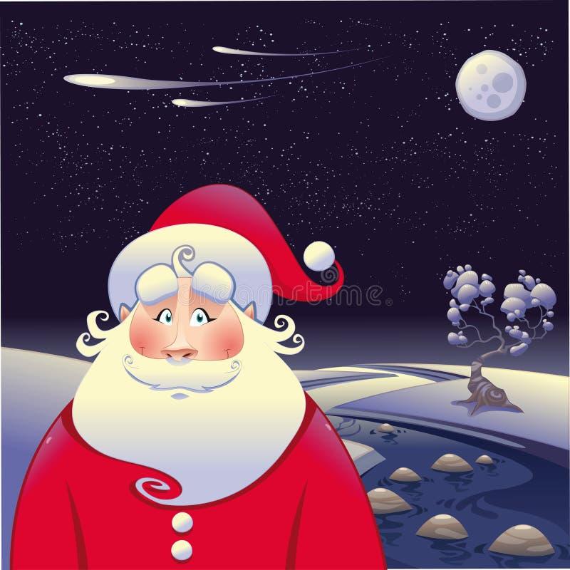 Weihnachtsmann mit Landschaft vektor abbildung