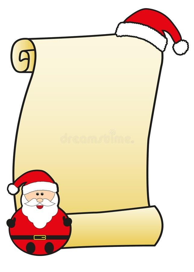 Weihnachtsmann mit Pergament stockbilder