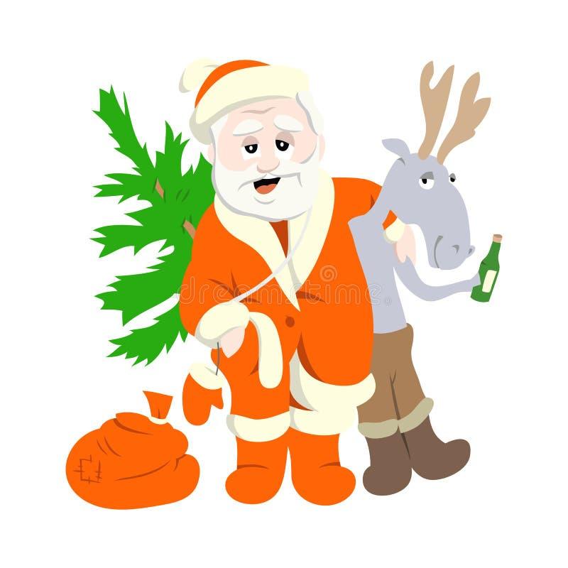 Weihnachtsmann mit Rotwild stockfoto