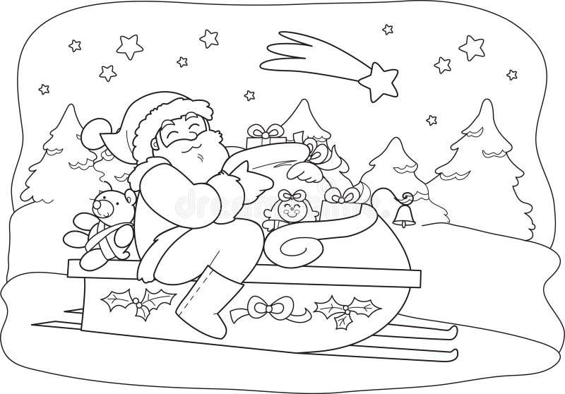 Weihnachtsmann mit Sack im Schlitten lizenzfreie abbildung