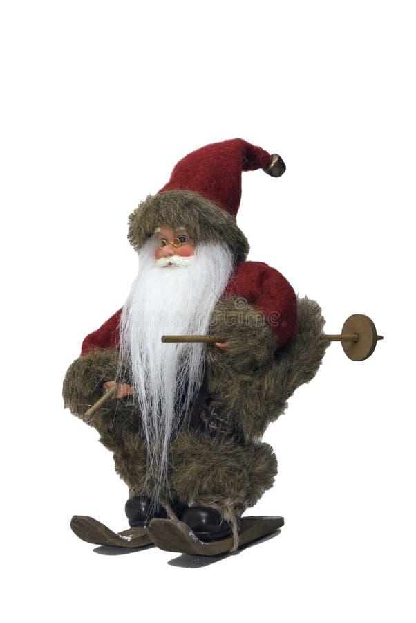 Weihnachtsmann mit Ski 3 stockbild