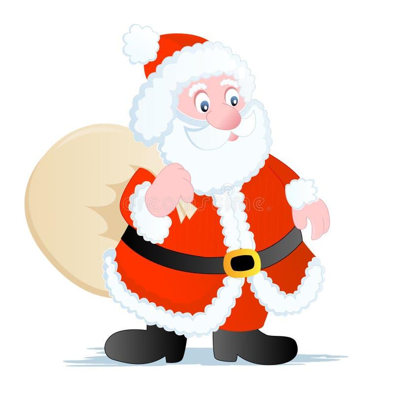Weihnachtsmann mit Spielzeugbeutel lizenzfreie abbildung