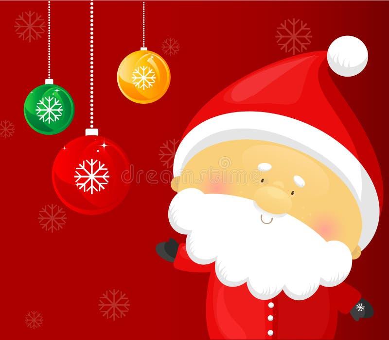 Weihnachtsmann mit Weihnachtsdekorationen stock abbildung