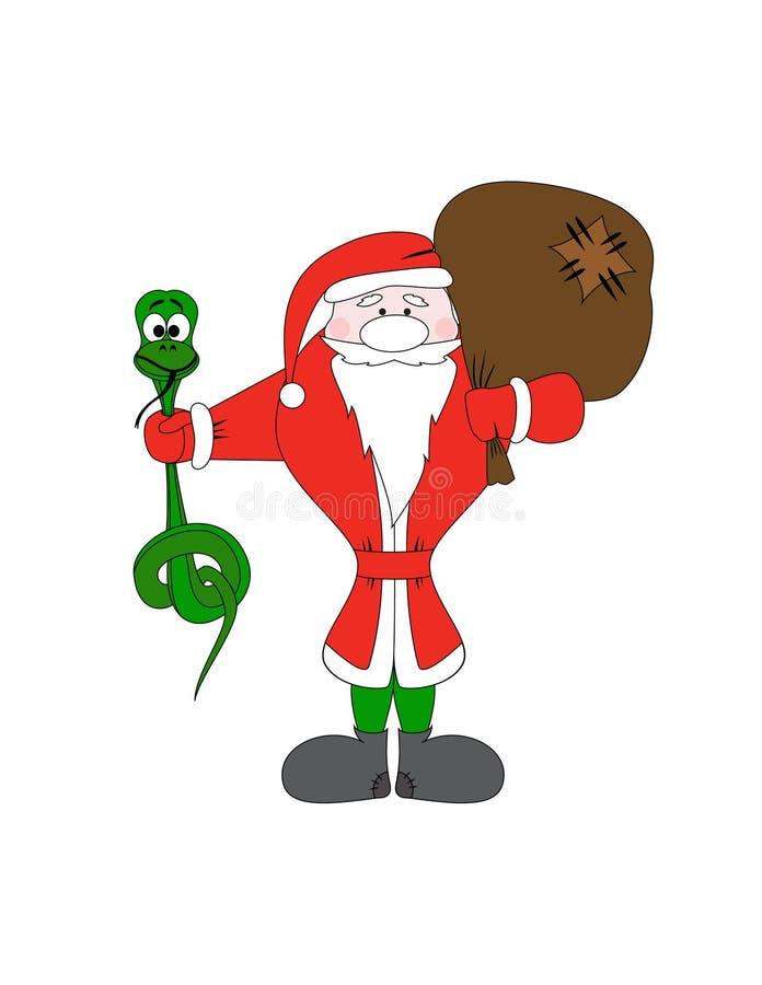 Weihnachtsmann Mit Weihnachtsschlange- Und -geschenkbeutel Lizenzfreies Stockfoto