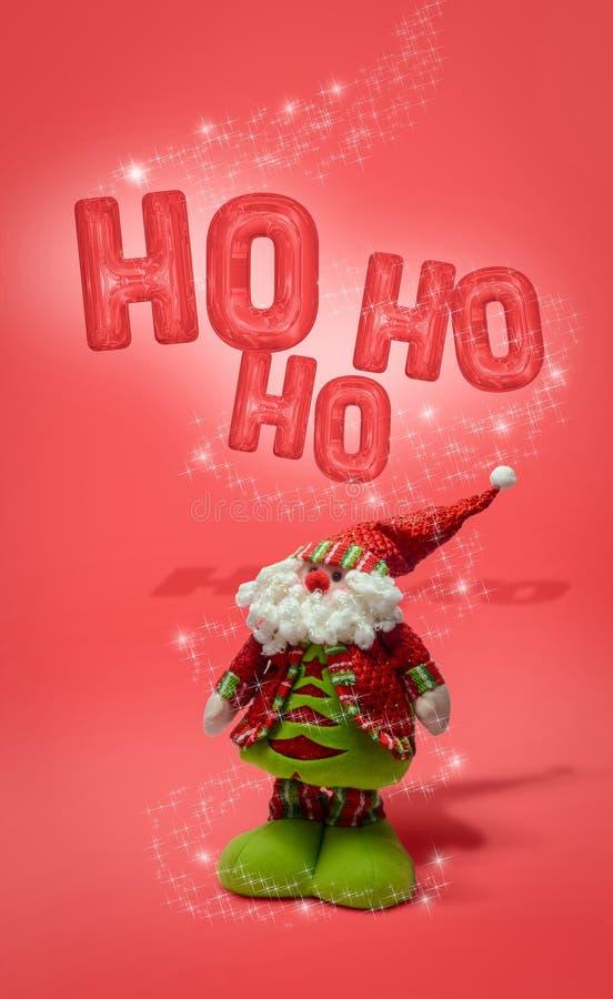 Weihnachtsmann, mit Weihnachtssternen stockfoto
