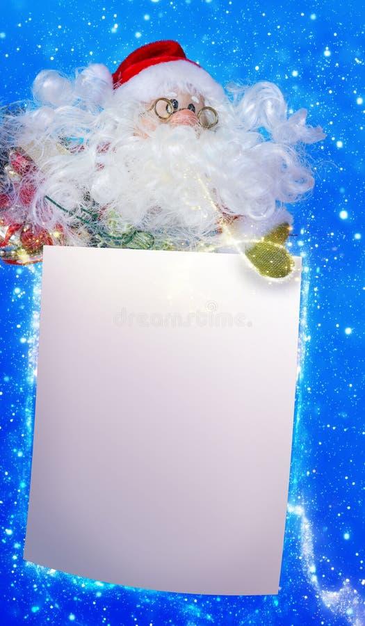Weihnachtsmann mit wishlist, Weihnachtskarte lizenzfreie abbildung