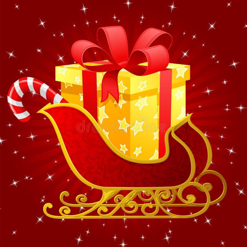 Weihnachtsmann-Pferdeschlitten stock abbildung