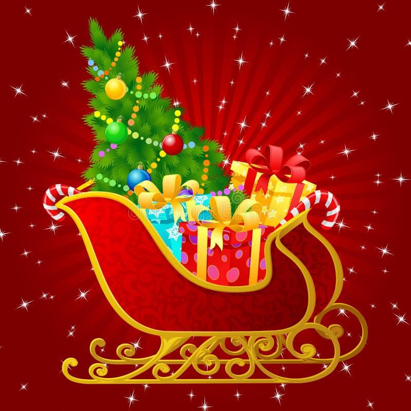 Weihnachtsmann-Pferdeschlitten lizenzfreie abbildung