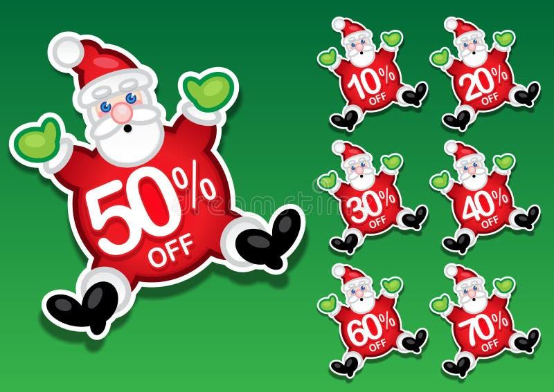 Weihnachtsmann-Rabatt-Verkaufs-Aufkleber lizenzfreie abbildung