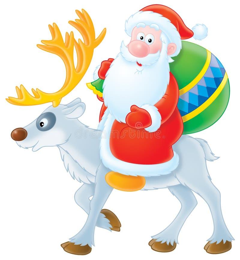 Weihnachtsmann-Reiten auf dem Ren lizenzfreie abbildung