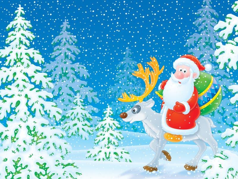 Weihnachtsmann-Reiten auf dem Ren im Winter f vektor abbildung