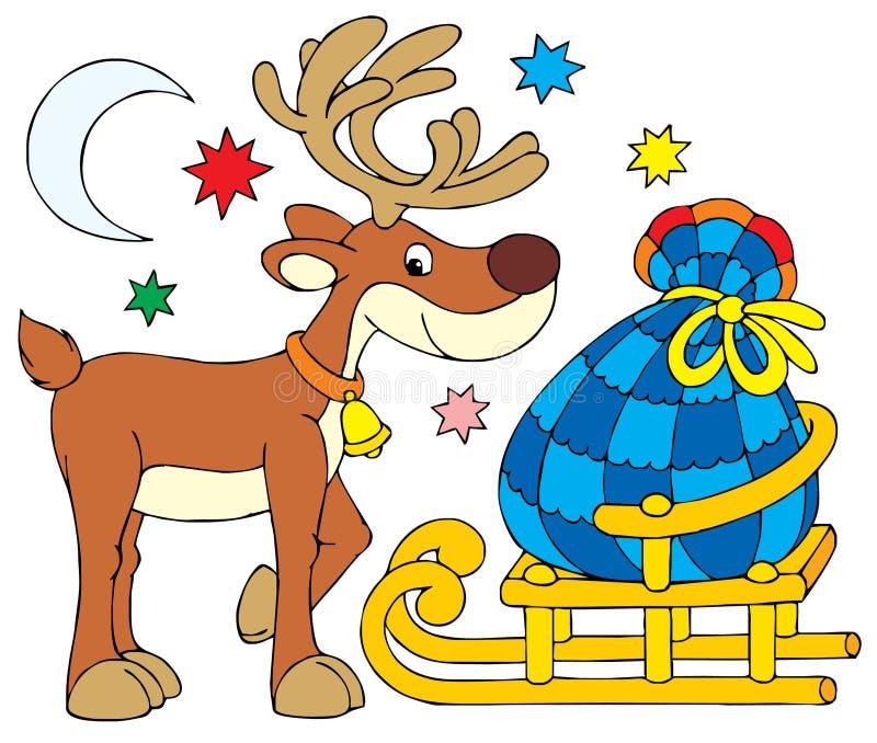 Weihnachtsmann-Ren lizenzfreie abbildung
