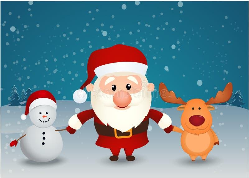Weihnachtsmann-Ren- und -Schneemannhändchenhalten vektor abbildung