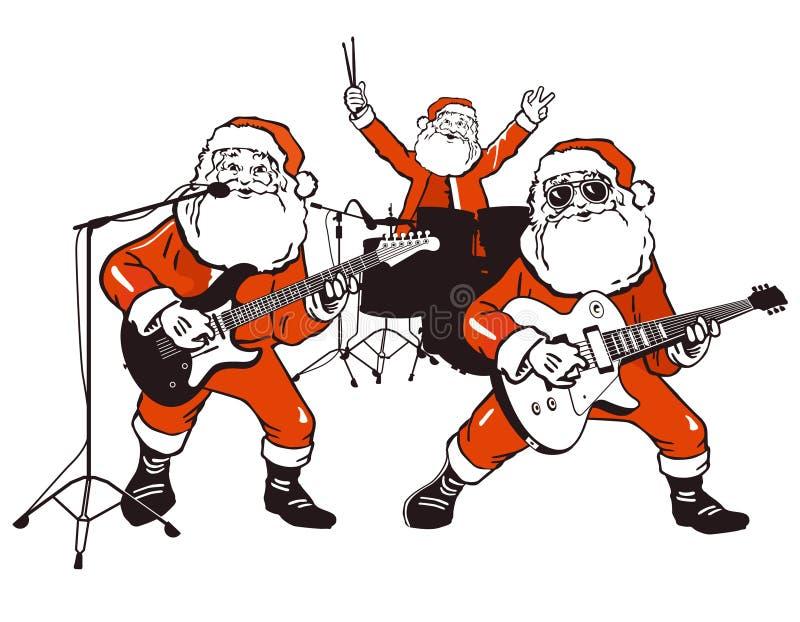 Weihnachtsmann-Rockband lizenzfreie abbildung