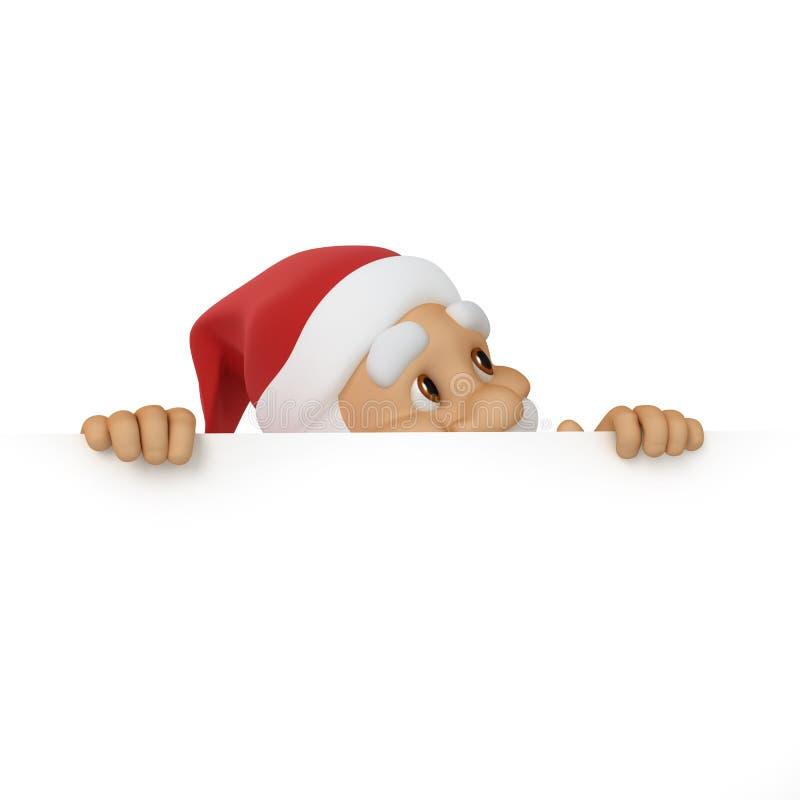 Weihnachtsmann schaut aus Papier heraus stock abbildung