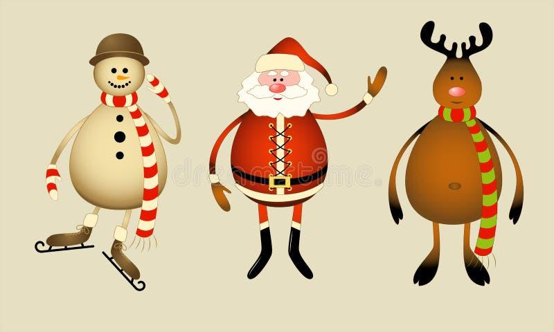 Weihnachtsmann, Schneemann, Ren vektor abbildung
