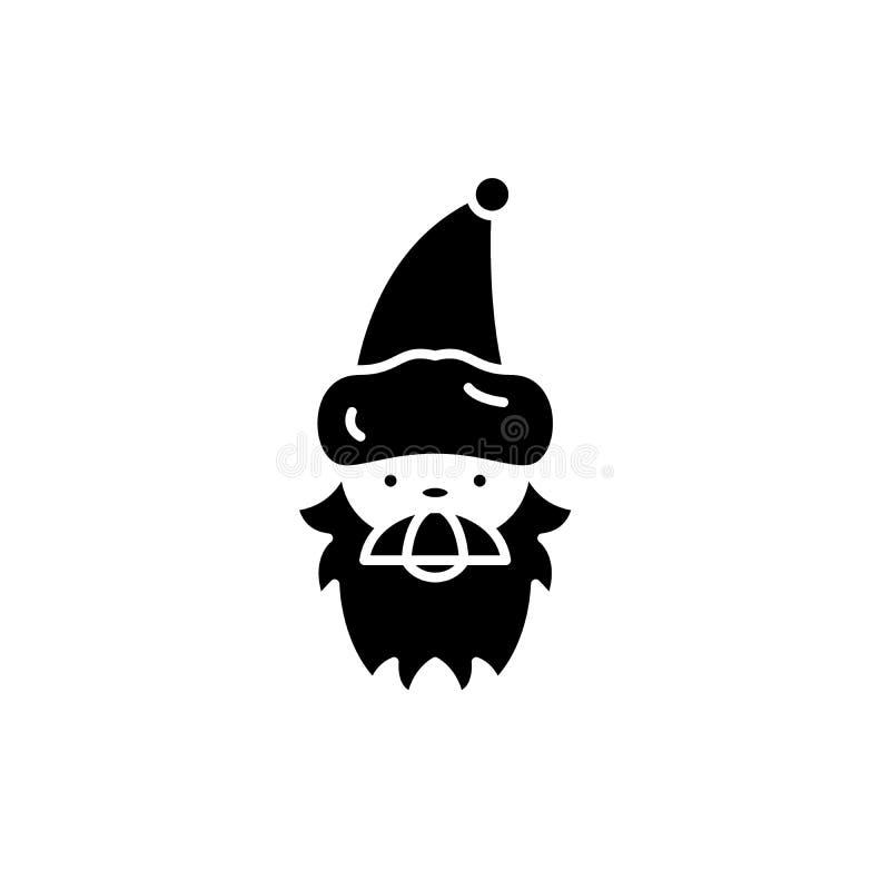 Weihnachtsmann-Schwarzikone, Vektorzeichen auf lokalisiertem Hintergrund Weihnachtsmann-Konzeptsymbol, Illustration lizenzfreie abbildung