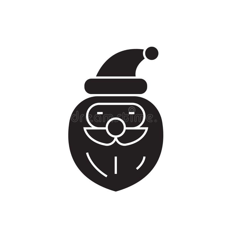 Weihnachtsmann-Schwarzvektor-Konzeptikone Flache Illustration Weihnachtsmanns, Zeichen stock abbildung