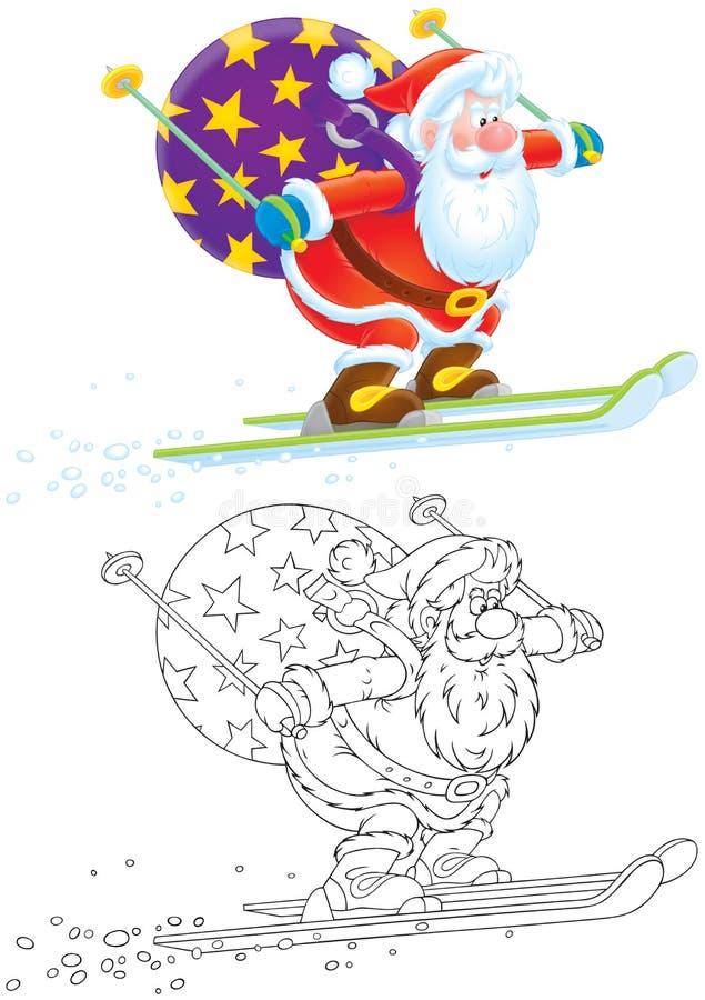 Weihnachtsmann-Skifahrer stock abbildung