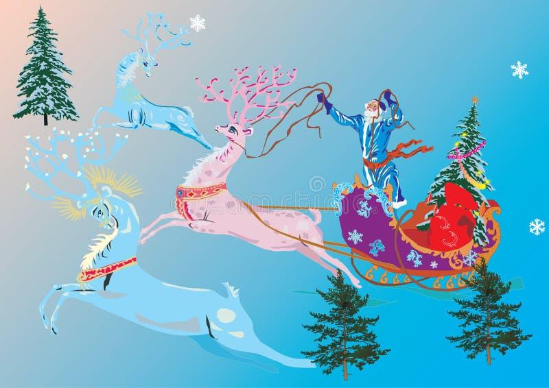Weihnachtsmann und drei deers vektor abbildung