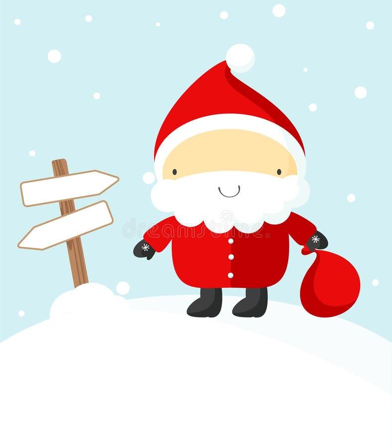 Weihnachtsmann und Fahnen vektor abbildung