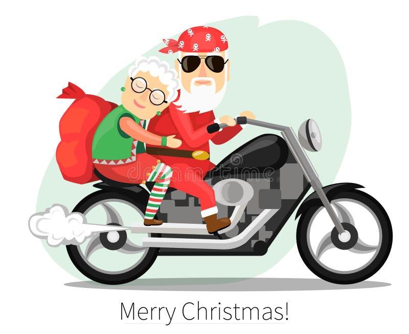 Weihnachtsmann und Mrs Klaus Fahren auf ein steiles Motorrad stock abbildung