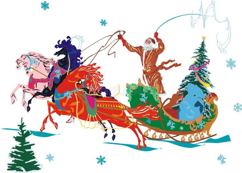 Weihnachtsmann und Pferde lizenzfreie abbildung