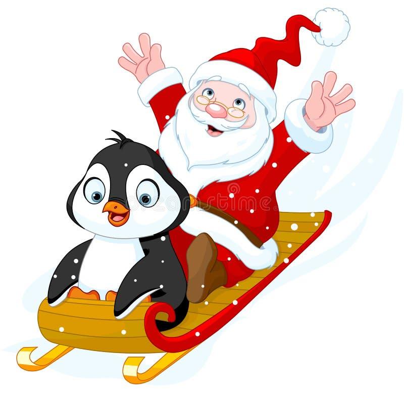 Weihnachtsmann und Pinguin lizenzfreie abbildung