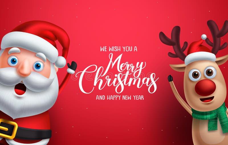 Weihnachtsmann und Ren vector die Weihnachtscharaktere, die Hand aufgeben vektor abbildung