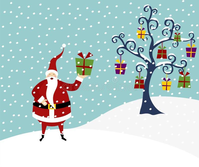 Weihnachtsmann-und Weihnachtsbaum vektor abbildung