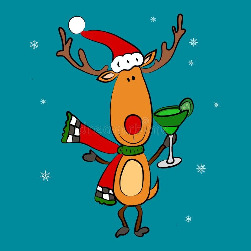 Weihnachtsmann-und Weihnachtsrotwild Guten Rutsch ins Neue Jahr-Freunde stock abbildung