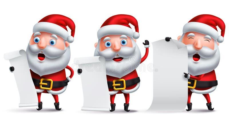 Weihnachtsmann-Vektorzeichensatz, der leeres Weißbuch der Weihnachtswunschliste hält lizenzfreie abbildung