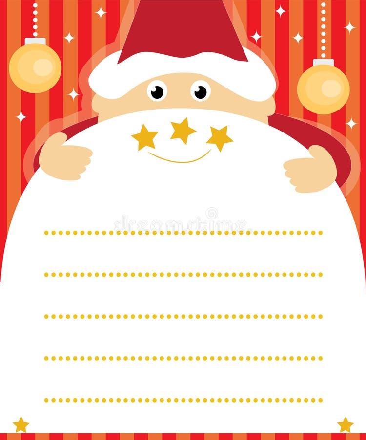 Weihnachtsmann-Wunschzettel vektor abbildung