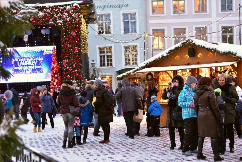Weihnachtsmarkt in Tallinn lizenzfreies stockbild