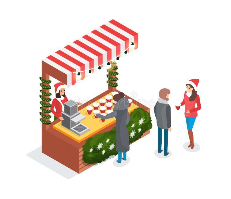 Weihnachtsmarkt-Verkäufer auf Straßen-Stall mit Kaffee lizenzfreie abbildung