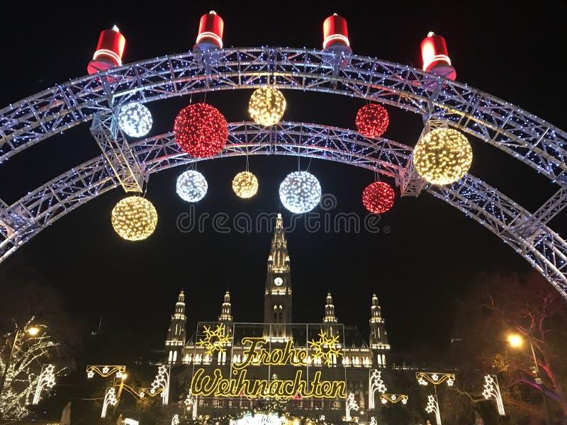 Weihnachtsmarkt in Wien, Österreich stockfotos