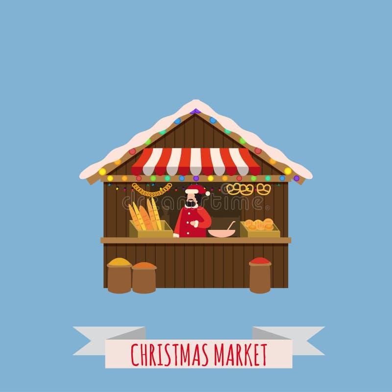 Weihnachtsmarktställe, Überdachungsverkäufer mit Neujahrsgeschenken Weihnachtsbäckerei, Brotgeschäfte mit Bagel, ciabatta, Stange lizenzfreie abbildung