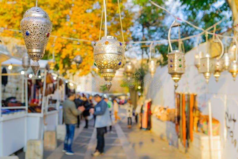 Weihnachtsmarktszene, Nazaret lizenzfreie stockbilder