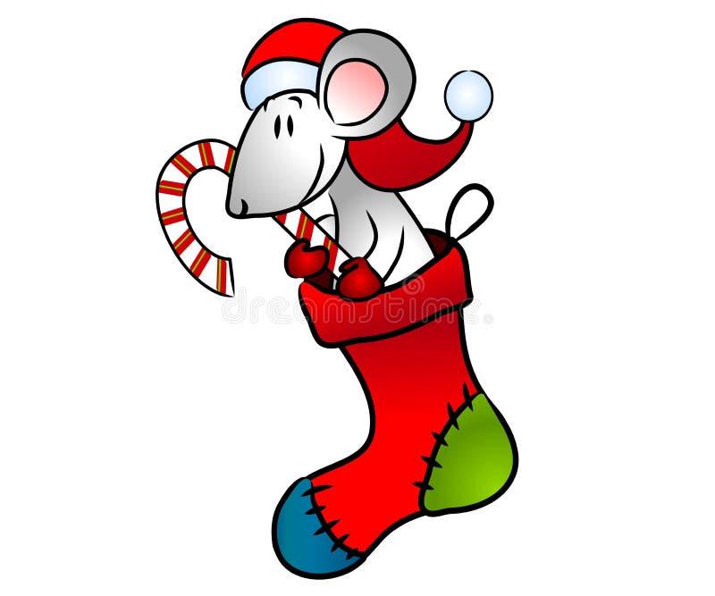 Weihnachtsmaus im Strumpf lizenzfreie abbildung