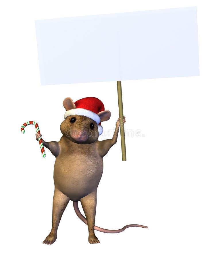 Weihnachtsmaus mit unbelegtem Zeichen - enthält Ausschnittspfad lizenzfreie abbildung