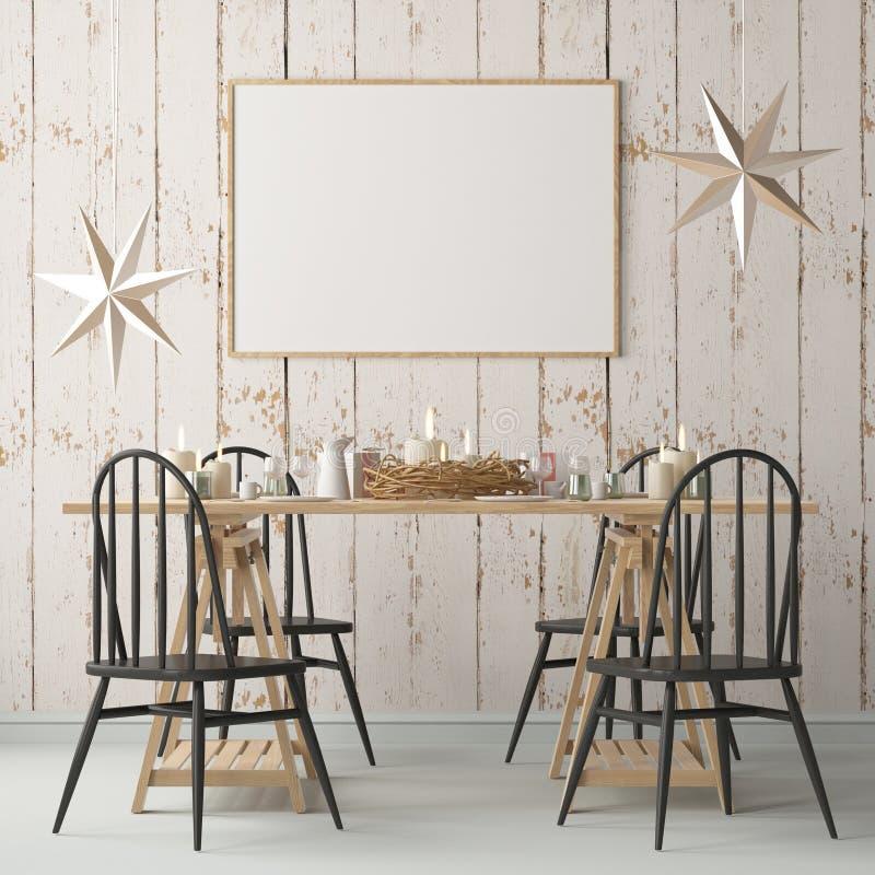 Weihnachtsmodell mit einem Plakat auf dem Hintergrund eines Abendtisches Wiedergabe 3d stock abbildung