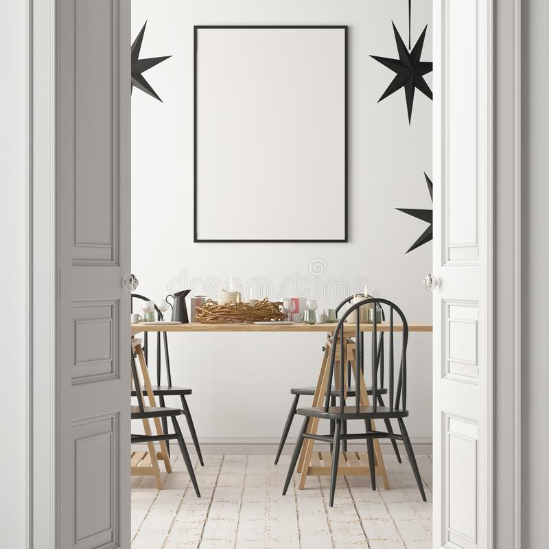 Weihnachtsmodell mit einem Plakat auf dem Hintergrund eines Abendtisches Wiedergabe 3d lizenzfreie abbildung