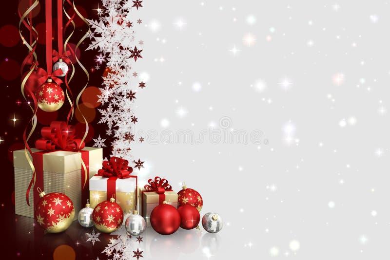 Weihnachtsmotiv mit Geschenkboxen und Glaskugeln und freier Raum für Text lizenzfreies stockfoto