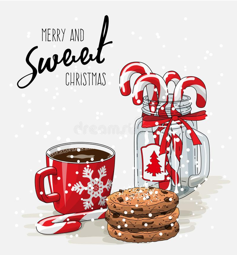 Weihnachtsmotiv, roter Tasse Kaffee mit rotem Band vektor abbildung