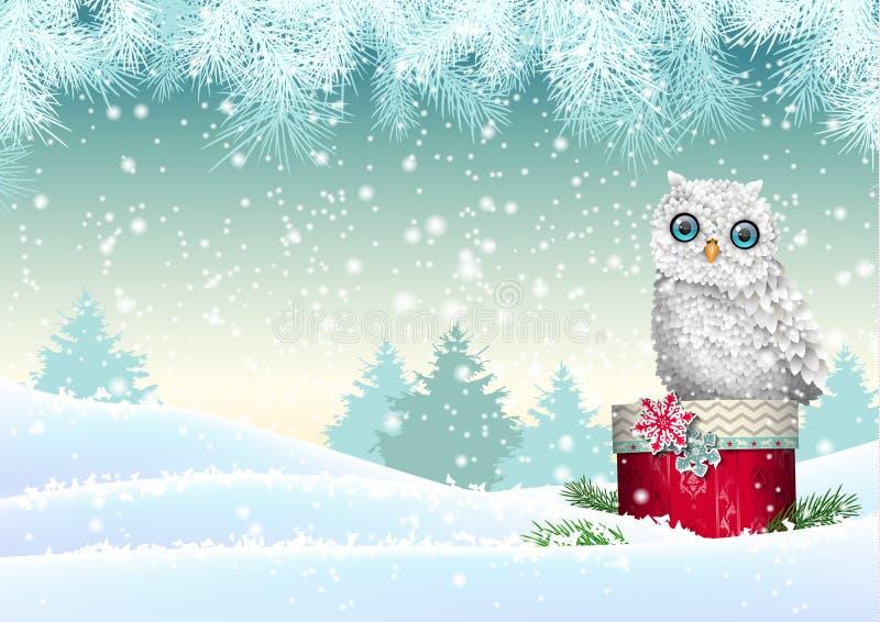 Weihnachtsmotiv, weiße Eule, die auf roter Geschenkbox in der schneebedeckten Landschaft, Illustration sitzt stock abbildung